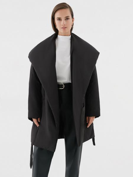 Объемное пальто с поясом - фото 2