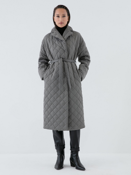 Стеганое пальто на поясе - фото 3