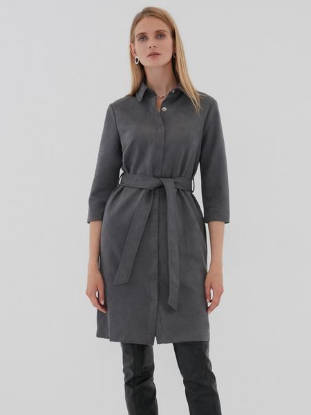 Замшевое платье-рубашка - фото 1