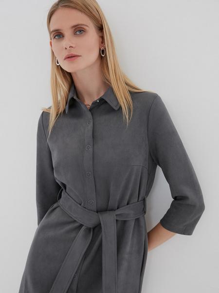 Замшевое платье-рубашка - фото 2