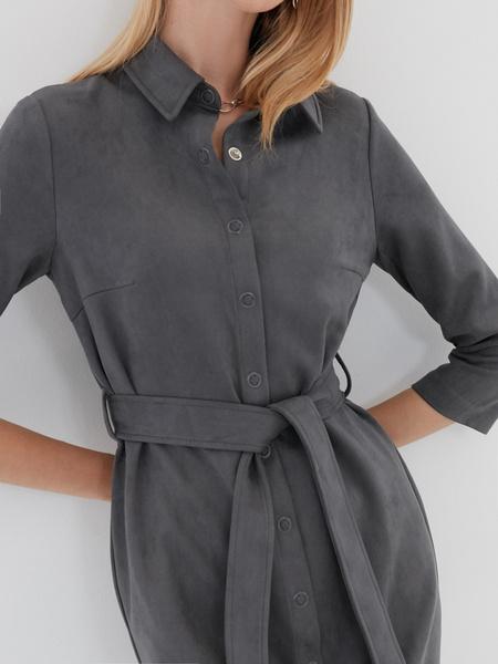Платье-рубашка на поясе - фото 3