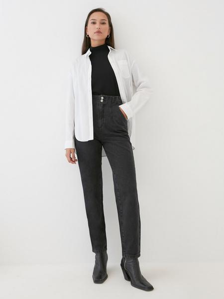 Укороченные джинсы с высокой талией - фото 1
