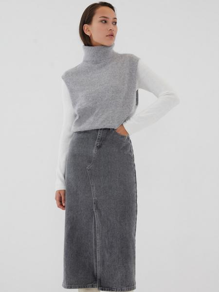 Джинсовая юбка-миди - фото 3