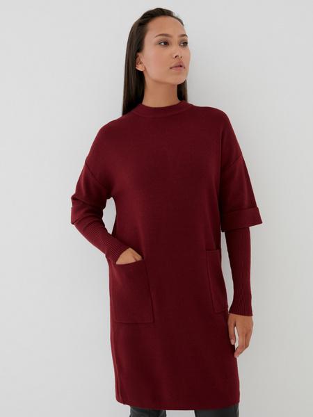 Платье с комбинированным рукавом - фото 1