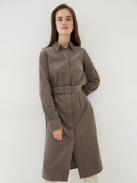 Вельветовое платье-рубашка - фото 2