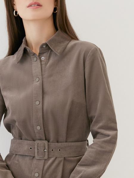 Вельветовое платье-рубашка - фото 3