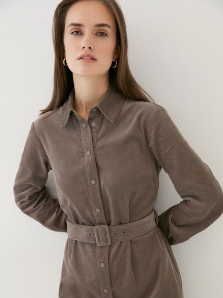 Вельветовое платье-рубашка - фото 4