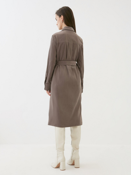 Вельветовое платье-рубашка - фото 5