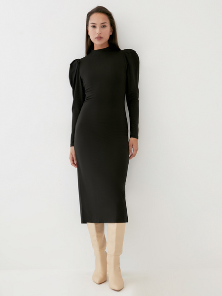Платье с драпированными рукавами - фото 1