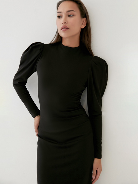 Платье с драпированными рукавами - фото 2
