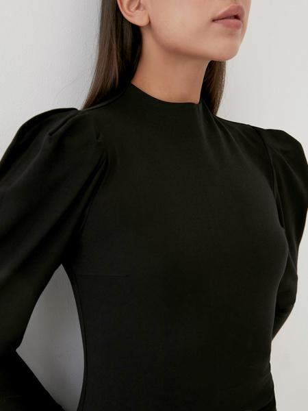 Платье с драпированными рукавами - фото 3
