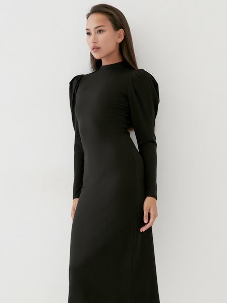 Платье с драпированными рукавами - фото 4