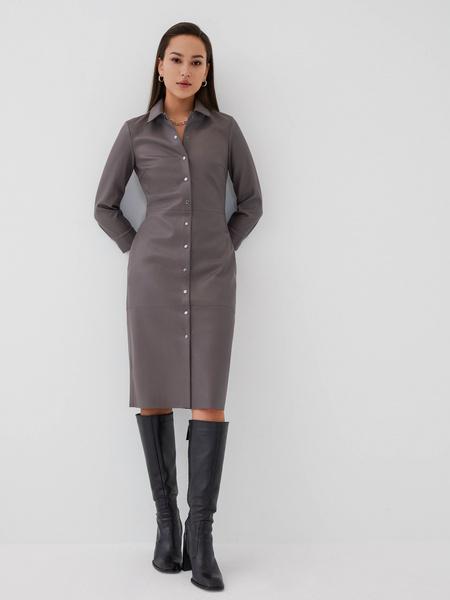 Платье-рубашка из экокожи - фото 1