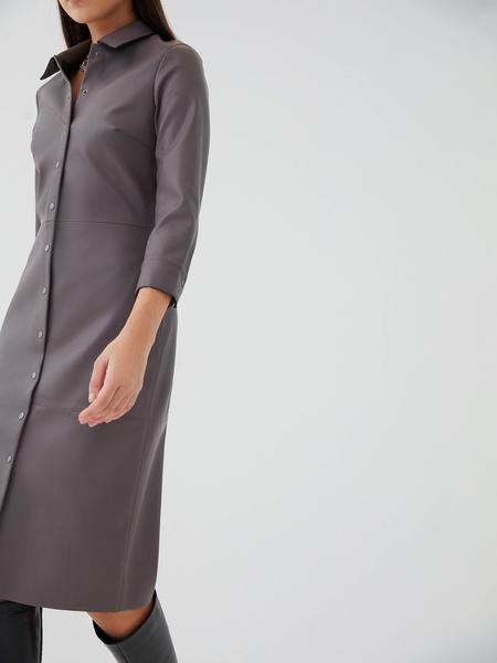 Платье-рубашка из экокожи - фото 4