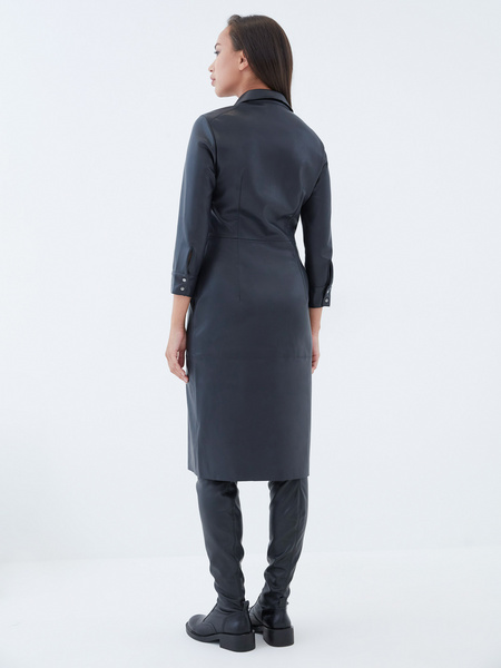 Платье-рубашка из экокожи - фото 5