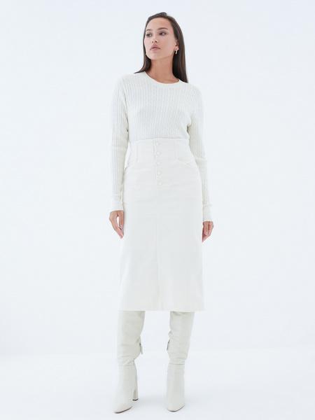 Вельветовая юбка на пуговицах - фото 2