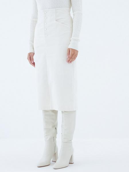 Вельветовая юбка на пуговицах - фото 3