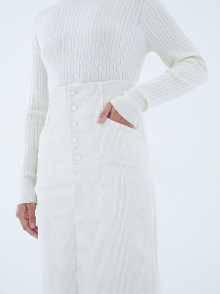 Вельветовая юбка на пуговицах - фото 4