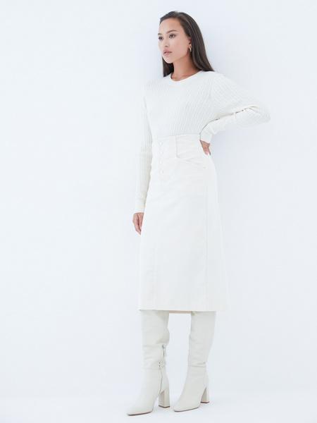 Вельветовая юбка на пуговицах - фото 6