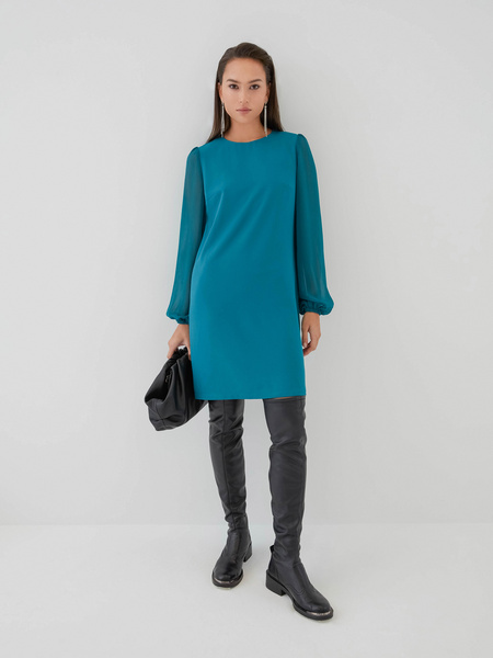 Платье с прозрачными рукавами - фото 2