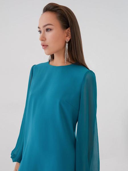 Платье с прозрачными рукавами - фото 3