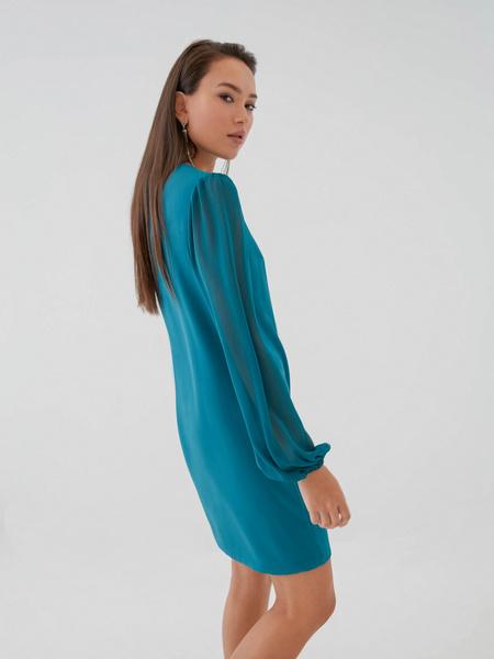 Платье с прозрачными рукавами - фото 6