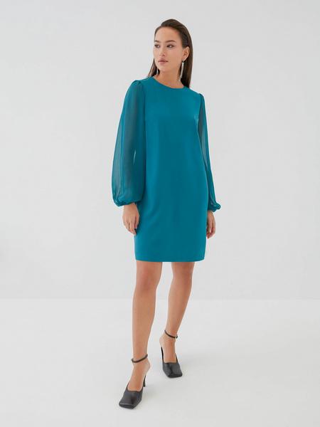 Платье с прозрачными рукавами - фото 7