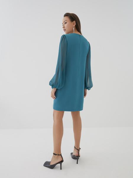 Платье с прозрачными рукавами - фото 8