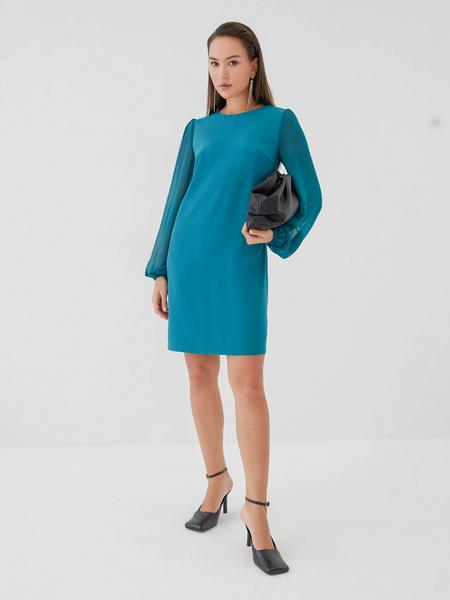 Платье с прозрачными рукавами - фото 9