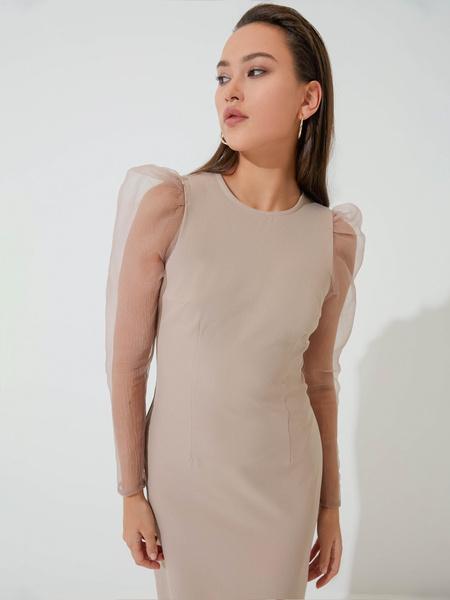 Платье с прозрачными рукавами - фото 1