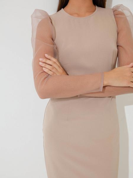 Платье с прозрачными рукавами - фото 4