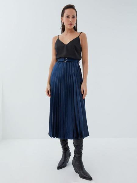 Плиссированная юбка с поясом - фото 3