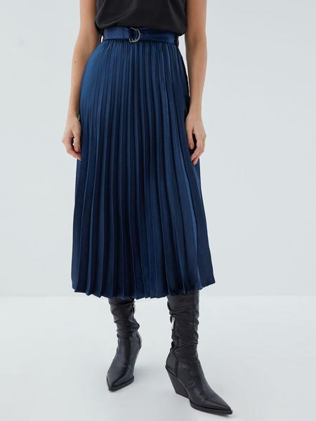 Плиссированная юбка с поясом - фото 4