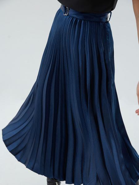 Плиссированная юбка с поясом - фото 5