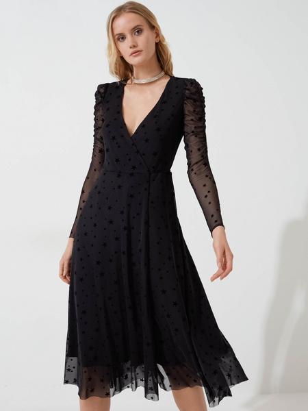 Сетчатое платье с запахом - фото 1