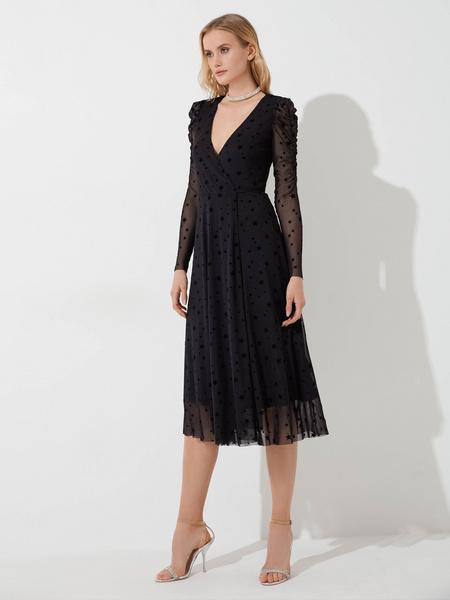 Сетчатое платье с запахом - фото 2