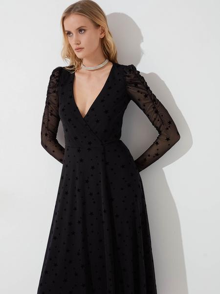 Сетчатое платье с запахом - фото 4