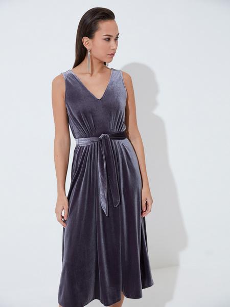 Бархатное платье с треугольным вырезом - фото 3