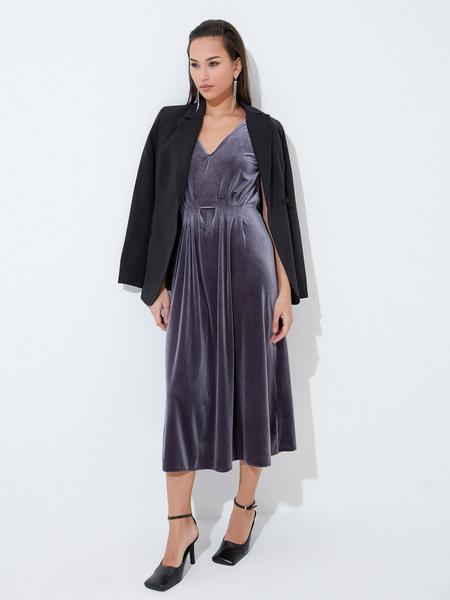 Бархатное платье с треугольным вырезом - фото 5