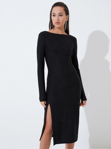 Мерцающее платье с разрезом - фото 1