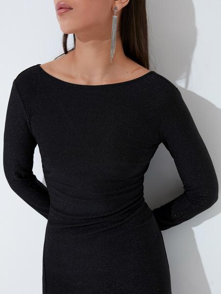 Мерцающее платье с разрезом - фото 3