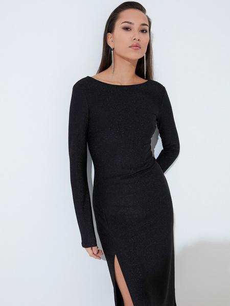 Мерцающее платье с разрезом - фото 4