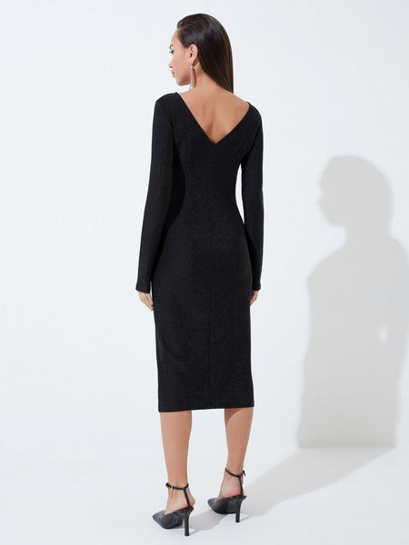 Мерцающее платье с разрезом - фото 5