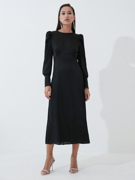 Атласное платье с высокой талией - фото 1