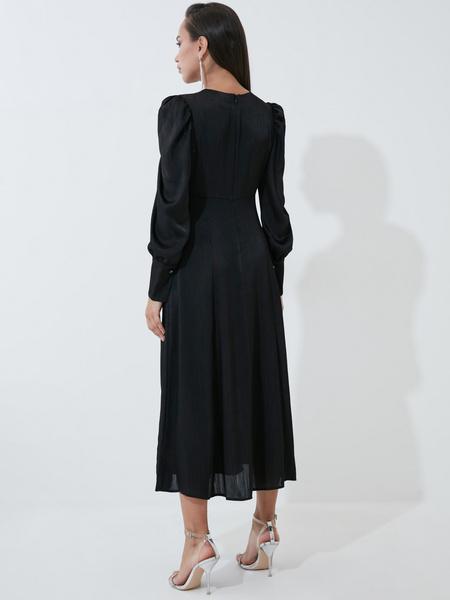 Атласное платье с высокой талией - фото 5
