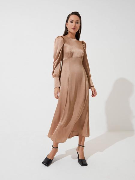Атласное платье с высокой талией - фото 2