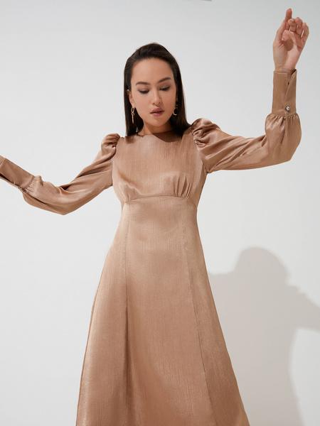 Атласное платье с высокой талией - фото 4