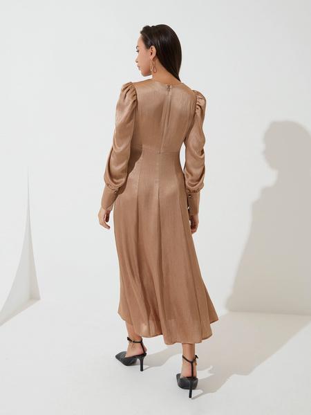 Атласное платье с высокой талией - фото 6