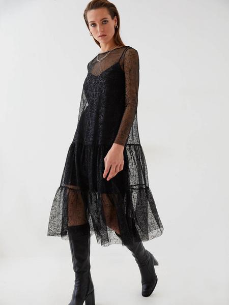 Сетчатое платье с воланом - фото 1