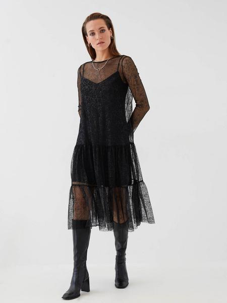 Сетчатое платье с воланом - фото 2
